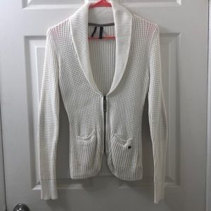 White guess sweater jacket with cowl like neck